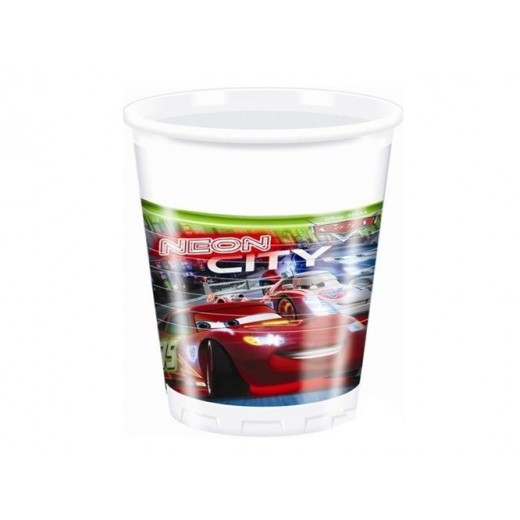 Cars Neon plastikkopper 200 ml 8 stk.-3