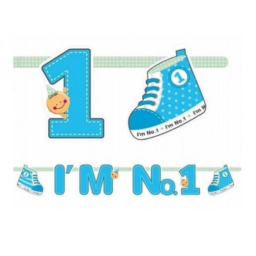 """I am no 1"" banner dreng 1,1 m lang-31"