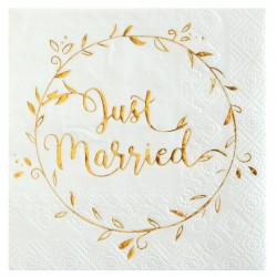 Kaffe servietter just married 20 stk-20