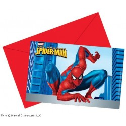 Spiderman invitationer 6 stk.-20