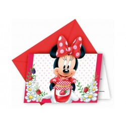 Minnie Mouse jordbær invitationer 6 stk.-20