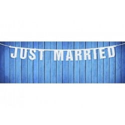 Bryllups Banner JUST MARRIED 18 x 170cm hvid 1 stk.-20