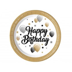Engangs paptallerkner Happy Birthday 8 stk 23cm-20