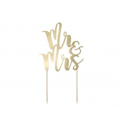 """Mr and Mrs"" kage banner 1 stk Guld-20"