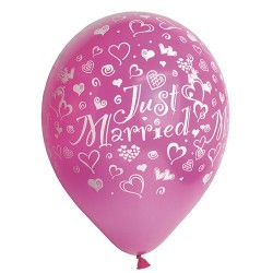 Just married metallic balloner 29 cm 10 stk. fuschia-20